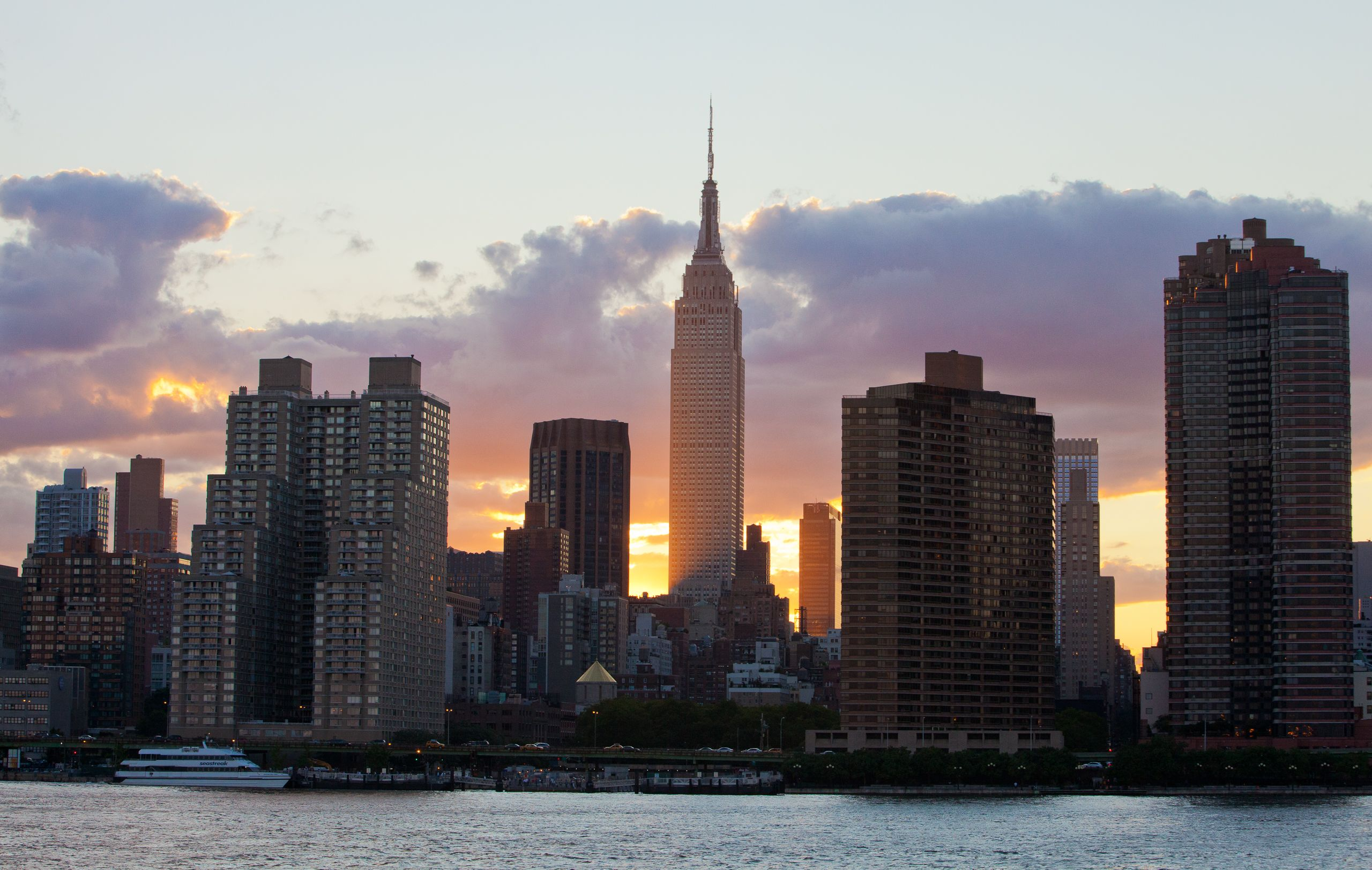 The Empire State Building at sunset from the East River