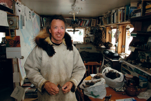 Doug Stern in his cabin, Cambridge Bay, Arctic photographer