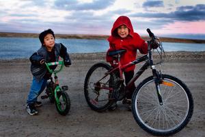 Boys and bikes, Cambridge Bay, Nunavut