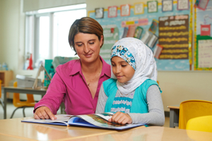 Teacher & student in classroom, Pickering ON