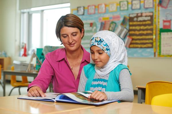 Teacher & student in classroom, Pickering ON