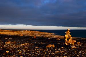 Western Arm, Inukshuk on the tundra, location photographer