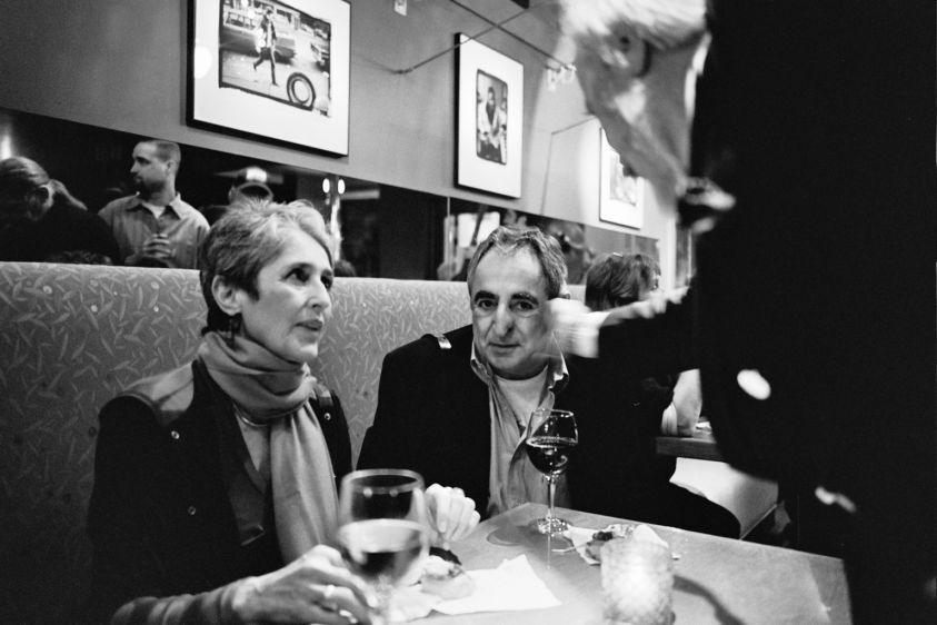 Photographer Jim Marshall, Joan Baez and Steve Sommerstein. Jim's 70th B-Day Party.