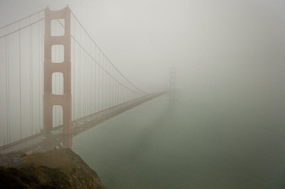 Golden Gate Bridge in the Fog, San Francisco, CA