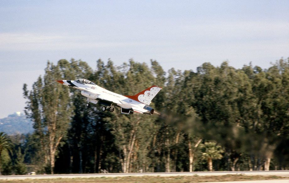 USAF Thunderbirds, F-16 Fighting Falcon pilot Captain Dana Atkins Taking flight, Norton AFB, CA