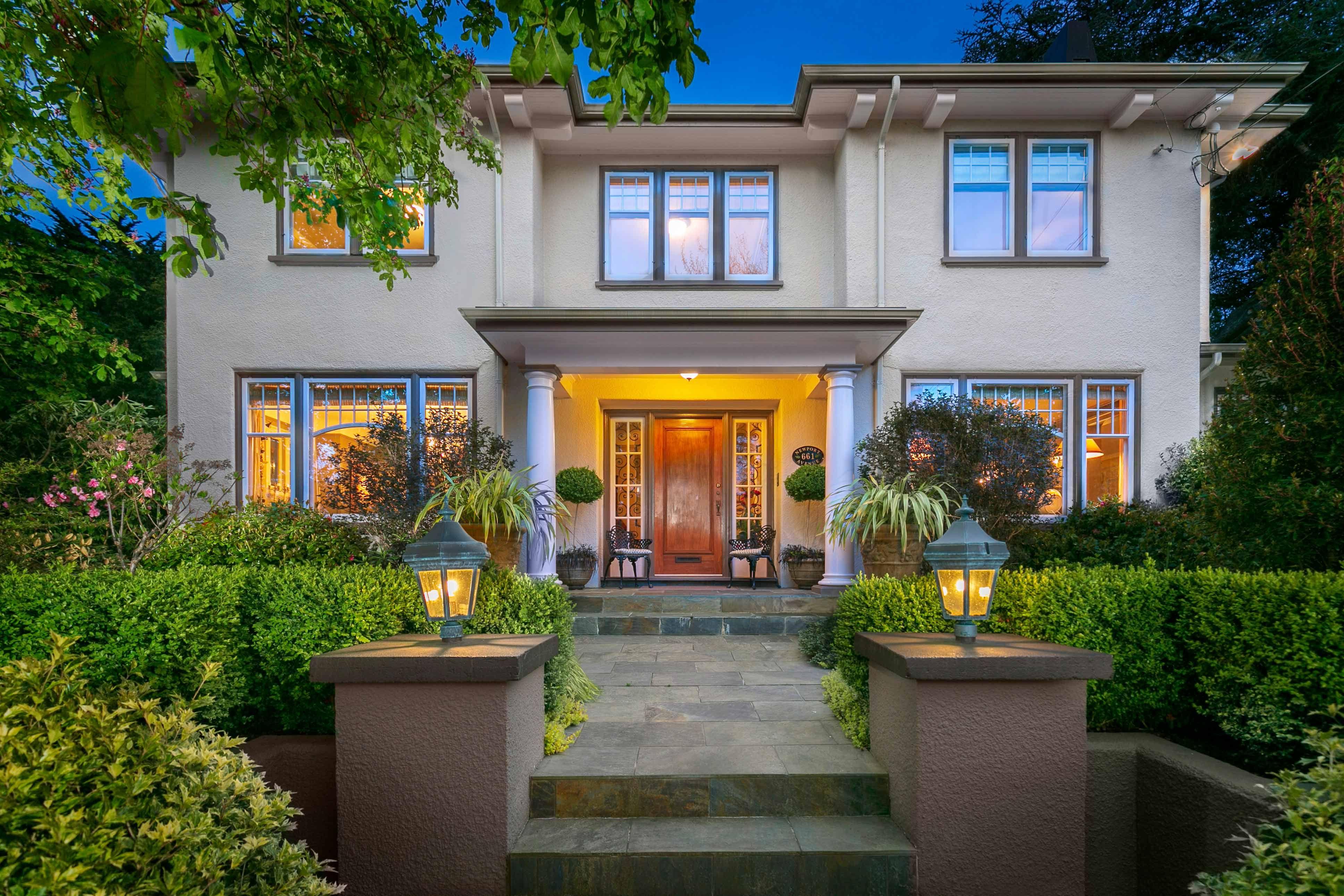 Luxury house photo - exterior front walk