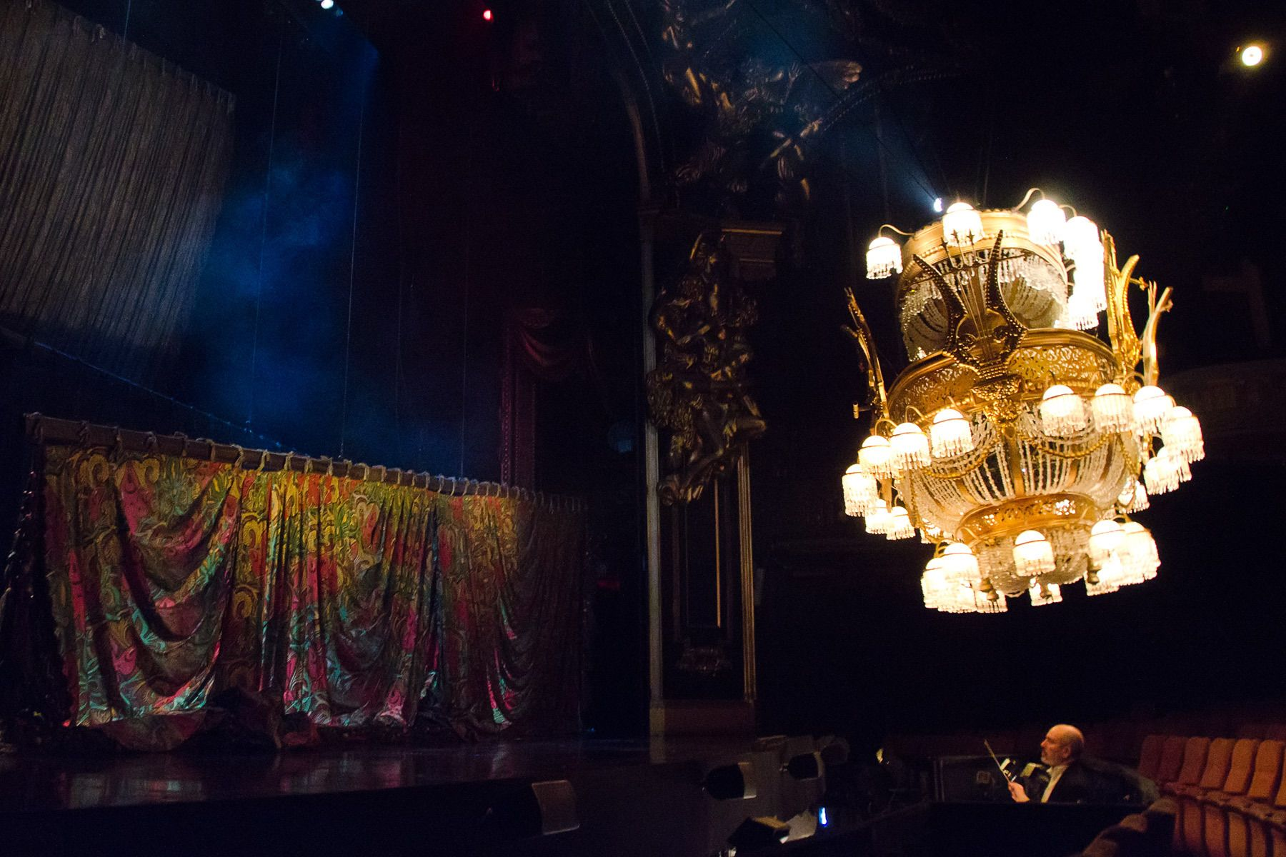 The chandelier rises in the Broadway production of THE PHANTOM OF THE OPERA.