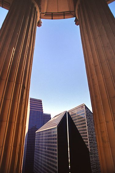 Pennzoil Place from Esperson Portico - Houston, Texas