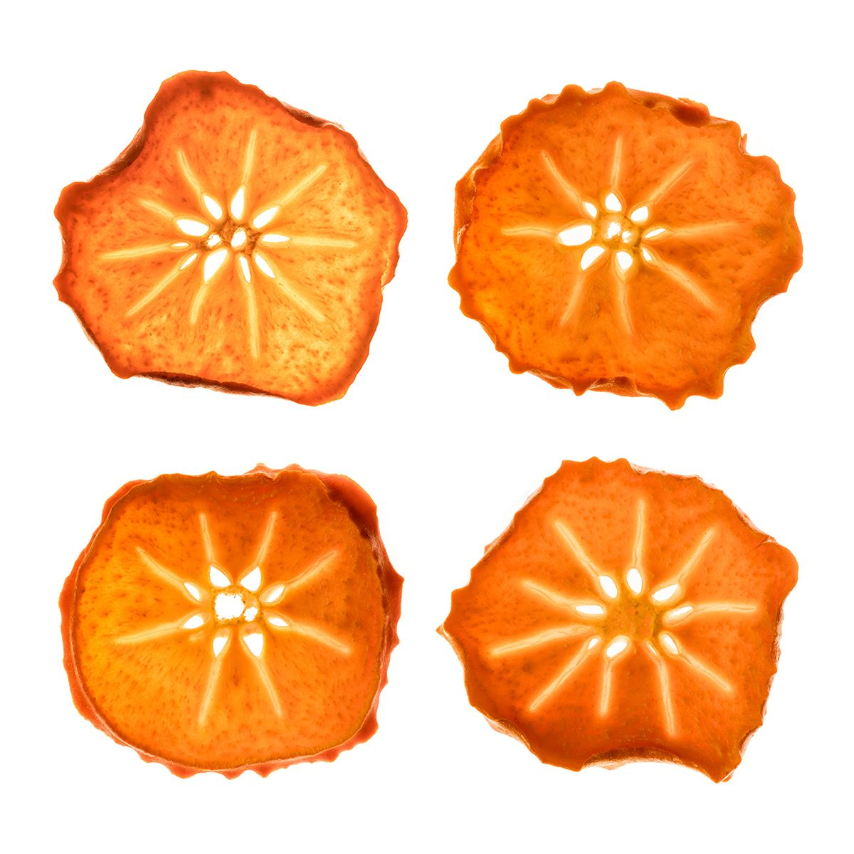Grid of persimmons on white