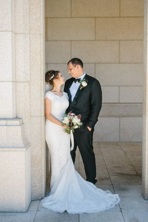 Chloe_Austin_Ben_Lomond_Suites_Ogden_Utah_Great_Gatsby_Bride_Groom_Outside_Ogden_Temple.jpg