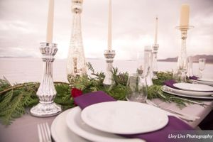 Salt_Air_Wedding_Shoot_Saltair_Resort_Salt_Lake_City_Utah_Elegant_Table_Setting_Candlesticks_Evergreen_Runner.jpg