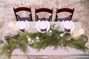 Salt_Air_Wedding_Shoot_Saltair_Resort_Salt_Lake_City_Utah_Elegant_Table_Setting_Aerial_View_White_Dishware_Burgundy_Napkins.jpg