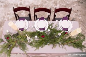 Salt_Air_Wedding_Shoot_Saltair_Resort_Salt_Lake_City_Utah_Elegant_Table_Setting_Aerial_View_White_Dishware_Burgundy_Napkins.jpg